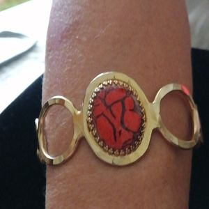 Vintage clip on bracelet with man made  oval shaped stone